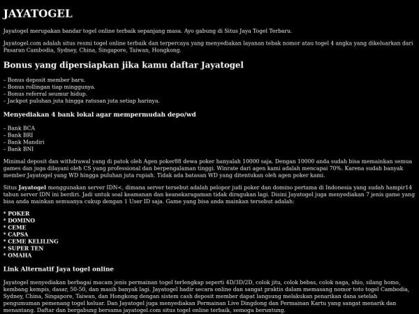 Jayatogel Situs Jaya Togel Online Terbaru 2020