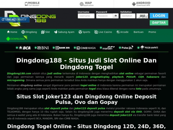 Situs Judi Slot Online Joker123 Dan Dingdong Togel Deposit Pulsa